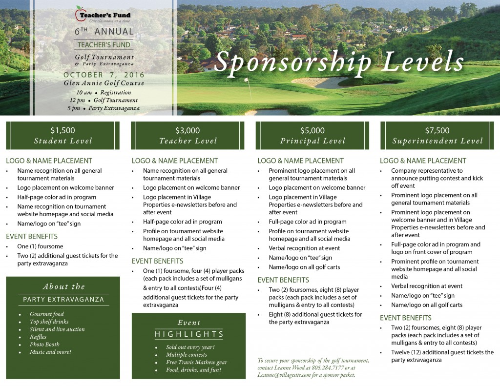 Thinking About Sponsoring Our Golf Tournament? TF_Brochure2